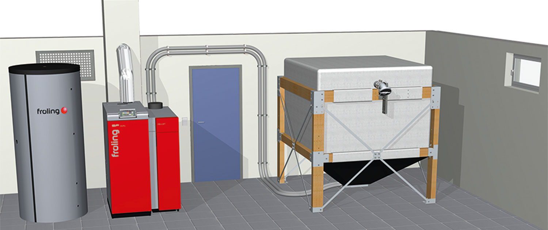 Holzheizung Fröling SP Dual mit Sacksilo