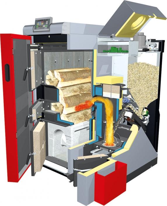 Holzheizung Fröling SP Dual mit Scheitholz und Pellets (Schnitt)